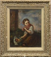 Lot 40-MODERN EUROPEAN SCHOOL, YOUNG GIRL PICKING FRUIT...