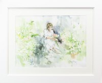 Lot 92-* GORDON KING, PORTRAIT OF A GIRL watercolour on...
