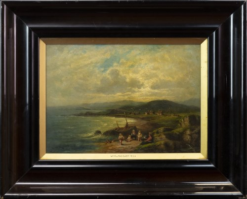 Lot 111-SCOTTISH SCHOOL, COASTAL SCENE oil on board,...