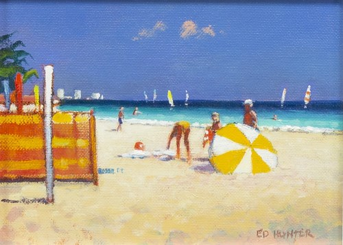 Lot 131-* ED HUNTER, BEACH, VILAMOURA, ALGARVE oil on...