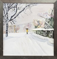 Lot 153-FINLAY MACKINTOSH, FIGURE IN SNOW oil on board,...