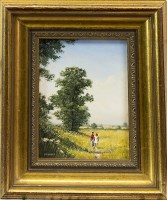 Lot 156-ROBERT HUGHES, FIGURES IN RURAL LANDSCAPE; and...