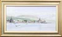 Lot 157-* MALCOLM BUTTS, CALM HARBOUR SCENE oil on canvas,...
