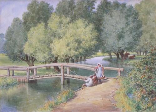 Lot 49-F S WILSON (BRITISH), CHILDREN FISHING BY A...