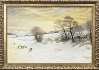 Lot 117-W T J BURTON, MID-WINTER SUNSET oil on canvas,...