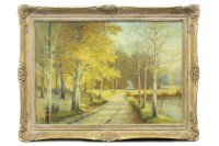 Lot 142-CONTEMPORARY SCHOOL, FOREST SCENE oil on canvas,...