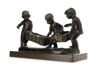 Lot 1640-BRONZE SCULPTURE OF THREE CHILDREN unsigned,...