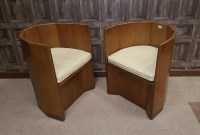 Lot 1653-INTERESTING SET OF SIX ART DECO WALNUT VENEERED...