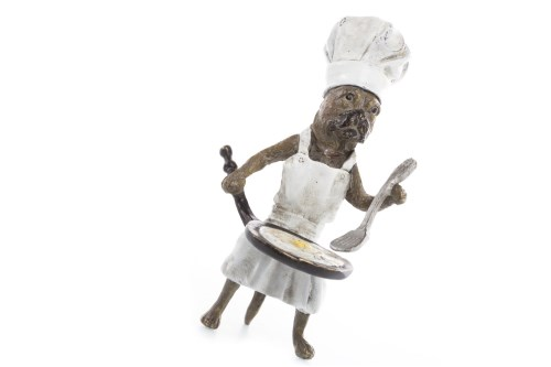 Lot 1683-FRANZ BERGMAN COLD PAINTED BRONZE OF A PUG CHEF...