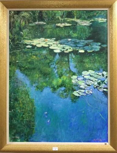Lot 368-JOSEPH KEARNEY LILY PADS ON LAKE oil on canvas