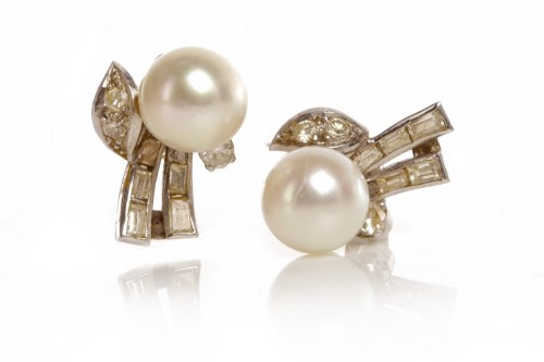 Lot 5-PAIR OF ART DECO DIAMOND AND PEARL STUD EARRINGS...