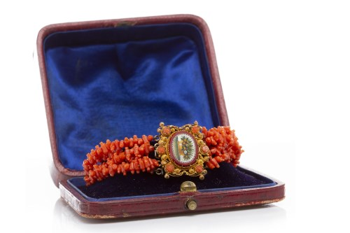 Lot 20-EARLY NINETEENTH CENTURY CORAL AND MICROMOSAIC...