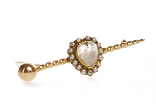 Lot 30-VICTORIAN MOONSTONE AND SEED PEARL BROOCH with a...