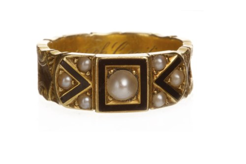 Lot 31-LATE VICTORIAN GOLD, ENAMEL AND PEARL MOURNING...