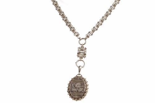 Lot 32-ORNATE LATE VICTORIAN SILVER LOCKET ON CHAIN...