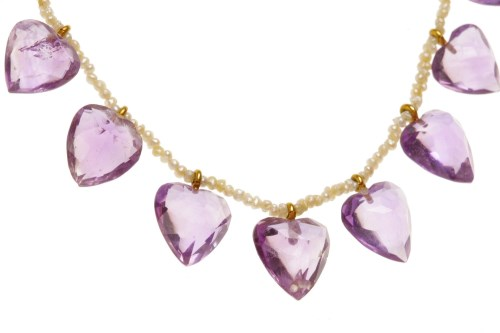 Lot 35-EARLY TWENTIETH CENTURY AMETHYST AND SEED PEARL...