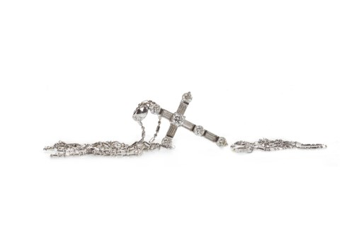 Lot 59-DIAMOND SET CROSS PENDANT set with round...