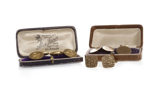 Lot 62-THREE PAIRS OF GOLD CUFF LINKS comprising a pair...