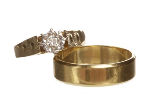 Lot 63-EIGHTEEN CARAT GOLD DIAMOND SINGLE STONE RING...