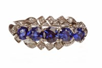 Lot 77-BLUE GEM AND DIAMOND DRESS RING set with five...