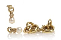 Lot 98-PAIR OF PEARL AND DIAMOND DROP EARRINGS each with ...