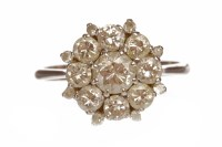 Lot 110-DIAMOND CLUSTER RING the bezel 13mm wide and set...