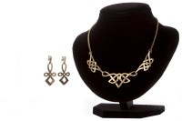 Lot 123 - NINE CARAT GOLD KNOTWORK NECKLET with three...