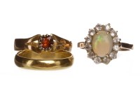 Lot 137 - OPAL AND WHITE GEM SET RING unmarked, size O,...