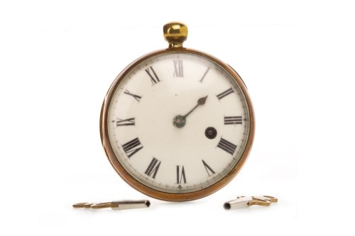 Lot 764-BREGUET OF PARIS BRASS OPEN FACE KEY WIND POCKET...