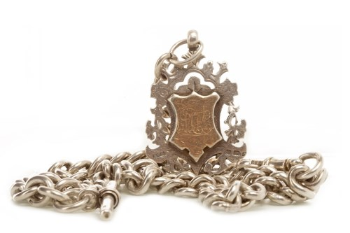 Lot 781-LATE VICTORIAN SILVER WATCH CHAIN formed by curb...