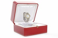 Lot 801-LADY'S CARTIER SANTOS STAINLESS STEEL BI COLOUR...