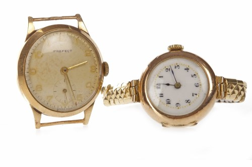 Lot 811-NINE CARAT GOLD MANUAL WIND WRIST WATCH the round ...
