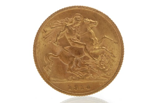 Lot 509-GOLD HALF SOVEREIGN DATED 1914