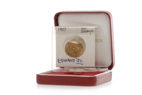 Lot 518-GOLD HALF SOVEREIGN DATED 1910