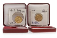 Lot 519-TWO GOLD HALF SOVEREIGNS DATED 1898 AND 1899