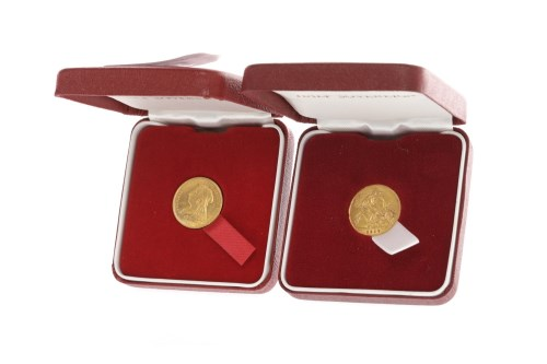 Lot 527-TWO GOLD HALF SOVEREIGNS DATED 1900 AND 1910