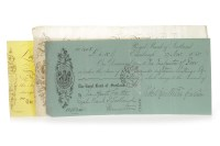 Lot 556-THREE NINETEENTH CENTURY CHEQUES comprising a...