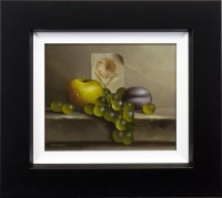 Lot 44-* MIKE WOODS, APPLE, PLUM & GRAPES oil on board,...