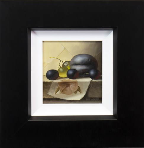 Lot 46-* MIKE WOODS, PLUM AND GRAPES oil on board,...