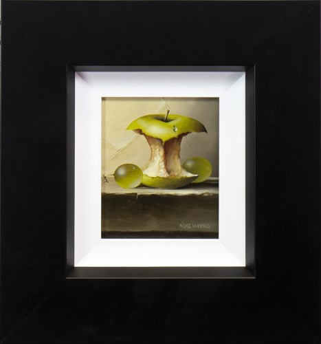 Lot 47-* MIKE WOODS, APPLE CORE AND GRAPES oil on board, ...