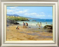 Lot 78-* ALLAN NELSON, PADDLING IN THE SURF oil on...