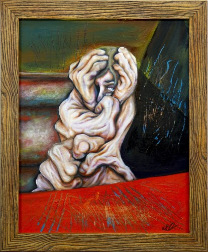 Lot 95-* KEVIN O'ROURKE, TONGUE TIED oil on canvas,...
