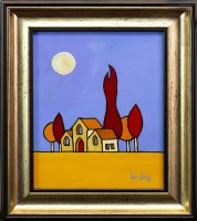 Lot 122-IAIN CARBY, RED TREES AND A CHURCH oil on...