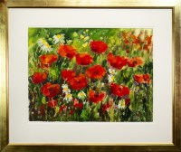 Lot 123-* MARGARET DUFF, POPPIES AND DAISIES gouache...