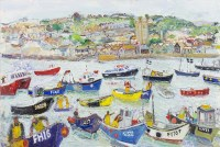 Lot 135-* LINDA WEIR, ST IVES HARBOUR oil on board,...