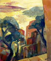 Lot 152-MARCEL GAULT, SUNSET VIEW oil on canvas,...