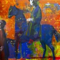Lot 161 - ANDREI BLUDOV, BLUE CAVALIER oil on canvas,...
