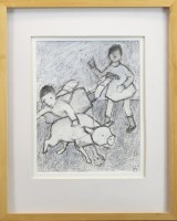 Lot 190 - * CATRIONA MILLAR, CHILDREN WITH PIG mixed...