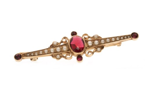 Lot 512-EARLY TWENTIETH CENTURY PASTE AND PEARL BROOCH...