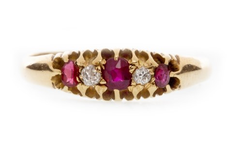 Lot 513-VICTORIAN EIGHTEEN CARAT GOLD CREATED RUBY AND...